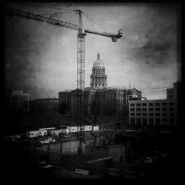 State Capitol with Crane December 2010